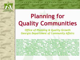 Office of Planning & Quality Growth Georgia Department of Community Affairs
