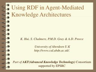 Using RDF in Agent-Mediated Knowledge Architectures