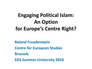 Engaging Political Islam:  An Option  for Europe's Centre Right?