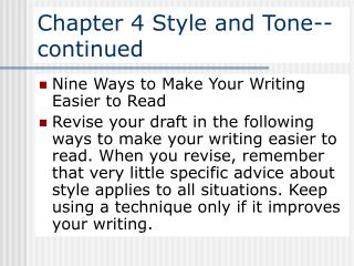 Chapter 4 Style and Tone--continued