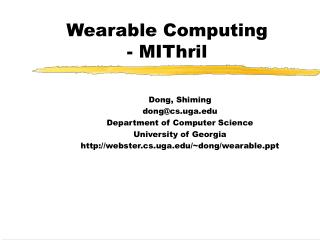 Wearable Computing - MIThril
