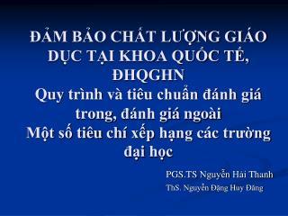 PGS.TS  Nguyễn Hải Thanh ThS .  Nguyễn Đặng Huy Đăng