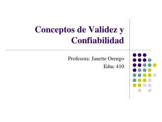 Conceptos de Validez y Confiabilidad
