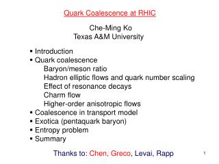 Quark Coalescence at RHIC