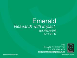 Emerald Research with impact