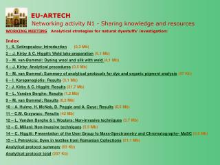 EU-ARTECH Networking activity N1 -  Sharing knowledge and resources