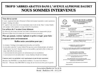 TROP D'ARBRES ABATTUS DANS L'AVENUE ALPHONSE DAUDET NOUS SOMMES INTERVENUS
