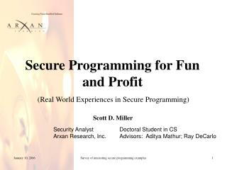 Secure Programming for Fun and Profit