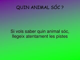 QUIN ANIMAL SÓC ?