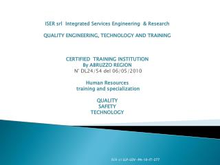 ISER srl Integrated Services Engineering  & Research