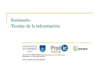 Seminario  Teor�as de la informaci�n