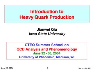 Introduction to  Heavy Quark Production