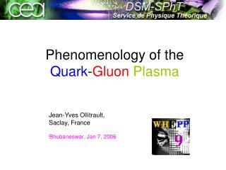 Phenomenology of the  Quark - Gluon Plasma