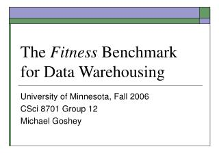 The  Fitness  Benchmark for Data Warehousing