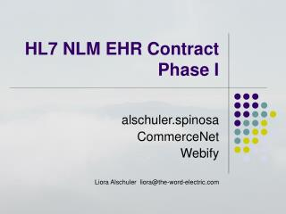 HL7 NLM EHR Contract  Phase I