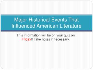 Major Historical Events That Influenced American Literature