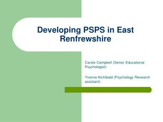 Developing PSPS in East Renfrewshire