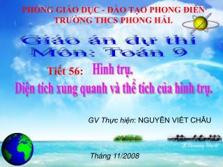 PHÒNG GIÁO DỤC - ĐÀO TẠO PHONG ĐIỀN TRƯỜNG THCS PHONG HẢI.