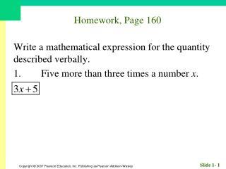 Homework, Page 160