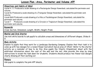 Lesson Plan –Area, Perimeter and Volume APP