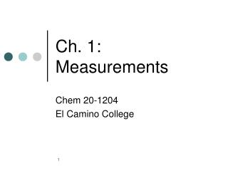Ch. 1: Measurements