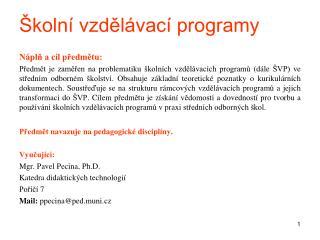 Školní vzdělávací programy