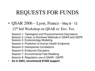 REQUESTS FOR FUNDS