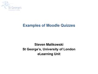 Examples of Moodle Quizzes