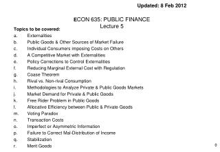 Updated: 8 Feb 2012 E CON 635: PUBLIC FINANCE Lecture 5