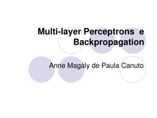 Multi-layer Perceptrons  e Backpropagation