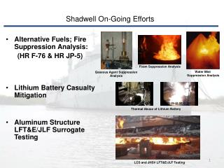 Alternative Fuels; Fire Suppression Analysis:        (HR F-76 & HR JP-5)