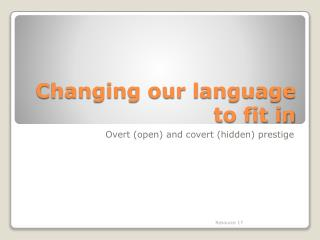 Changing our language to fit in
