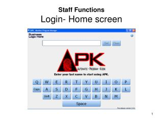 Staff Functions Login- Home screen