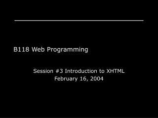 B118 Web Programming