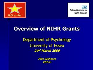 Overview of NIHR Grants