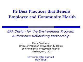 P2 Best Practices that Benefit  Employee and Community Health
