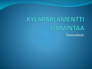 KYLÄPARLAMENTTI TOIMINTAA