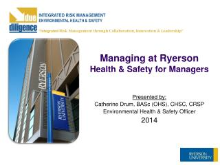 Managing at Ryerson Health & Safety for Managers