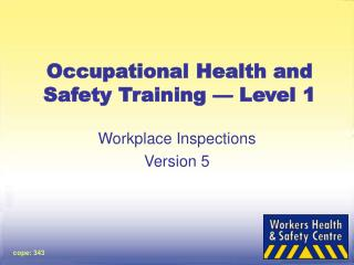 Occupational Health and Safety Training — Level 1