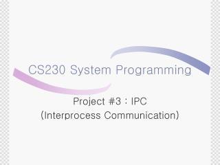 CS230 System Programming