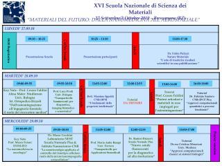 XVI Scuola Nazionale di Scienza dei Materiali 27 Settembre/2 Ottobre 2010 – Bressanone (BZ)