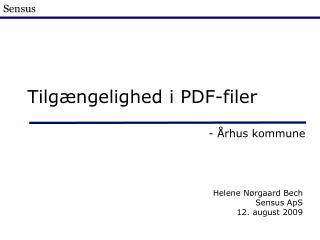 Tilgængelighed i PDF-filer
