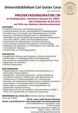 """PROJEKTKOORDINATOR/IN im Modellprojekt """"Psychisch Gesund Für ZWEI"""" bis Projektende 30.06.2012"""