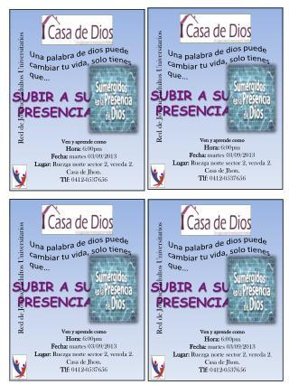 Ven y aprende como Hora:  6:00pm Fecha:  martes  03 /09/2013