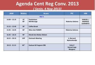 A genda  Cent  Reg  Conv. 2013  (  Senin , 4  Nop  2013)
