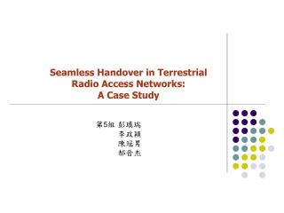 Seamless Handover in Terrestrial Radio Access Networks: A Case Study