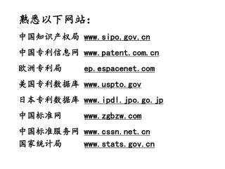 熟悉以下网站: 中国知识产权局  sipo 中国专利信息网  patent 欧洲专利局      ep.espacenet
