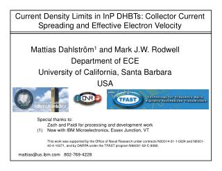 Current Density Limits in InP DHBTs: Collector Current Spreading and Effective Electron Velocity
