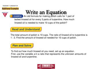 Write an Equation