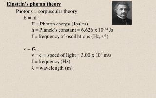 Einstein's photon theory